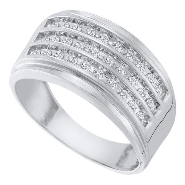 Round Diamond 3-Row Band Ring 1/2 Cttw 10KT White Gold