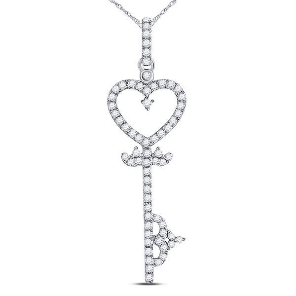 Round Diamond Key Heart Pendant 1/5 Cttw 10KT White Gold