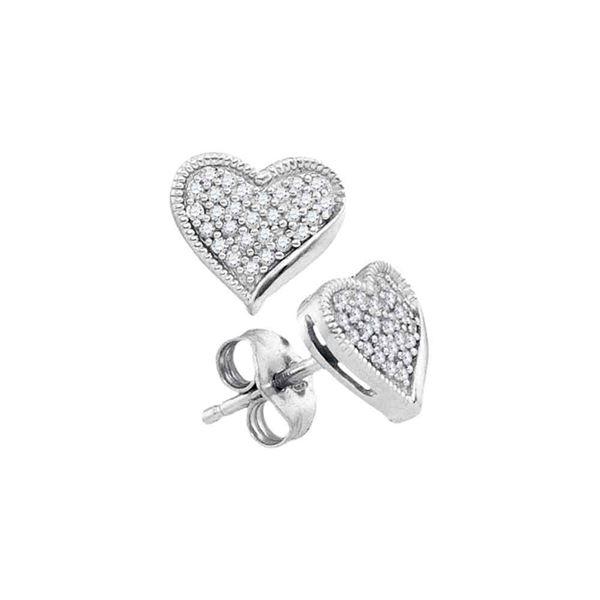 Round Diamond Heart Earrings 1/5 Cttw 10KT White Gold