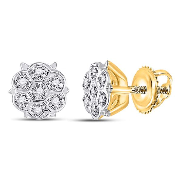 Round Prong-set Diamond Cluster Stud Earrings 1/20 Cttw 10KT Yellow Gold