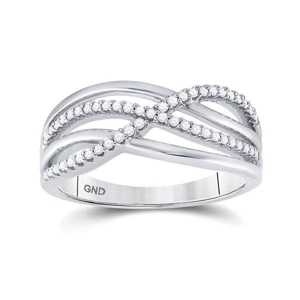 Round Diamond Crossover Woven Band 1/5 Cttw 10KT White Gold