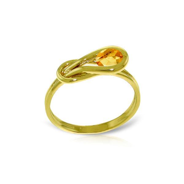 Genuine 0.65 ctw Citrine Ring 14KT Yellow Gold - REF-47H2X