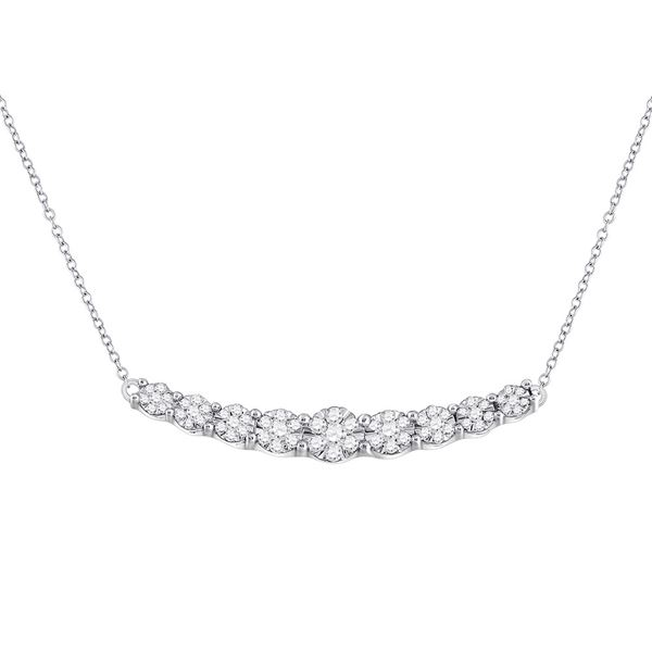 Round Diamond Graduated Curved Bar Necklace 1/2 Cttw 14KT White Gold