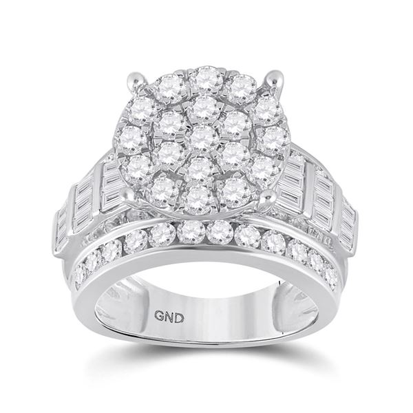 Diamond Cluster Bridal Wedding Engagement Ring 3 Cttw 10KT White Gold