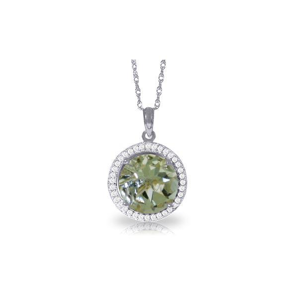 Genuine 5.2 ctw Green Amethyst & Diamond Necklace 14KT White Gold - REF-70H6X