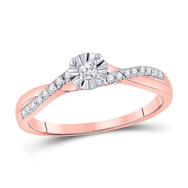 Round Diamond Solitaire Twist Promise Ring 1/6 Cttw 10KT Rose Gold