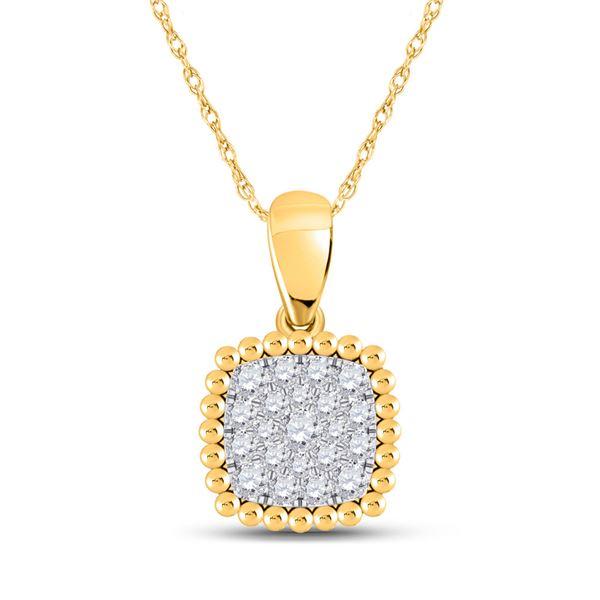 Round Diamond Square Pendant 1/6 Cttw 10KT Yellow Gold