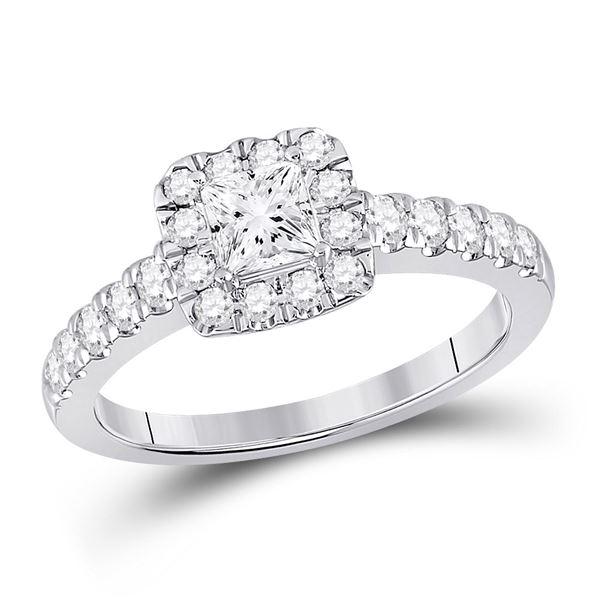 Halo Bridal Wedding Engagement Ring 1 Cttw 14KT White Gold
