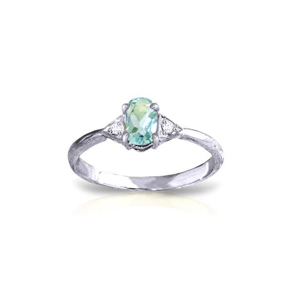 Genuine 0.46 ctw Aquamarine & Diamond Ring 14KT White Gold - REF-23T5A