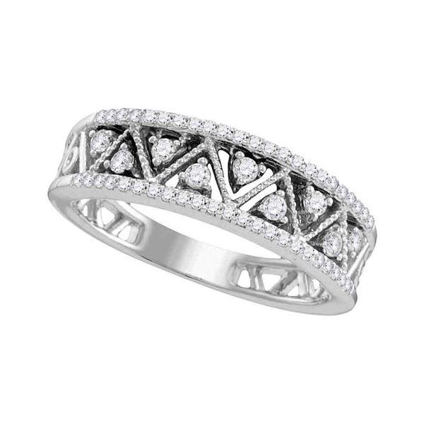 Round Diamond Geometric Band Ring 1/3 Cttw 10KT White Gold