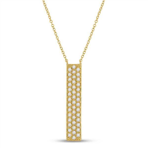 Round Diamond Vertical Bar Necklace 1/4 Cttw 10KT Yellow Gold