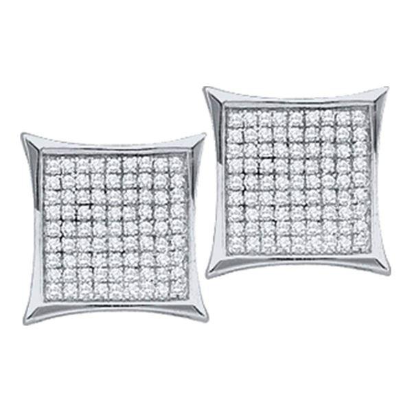 Round Diamond Square Kite Cluster Earrings 1/6 Cttw 14KT White Gold