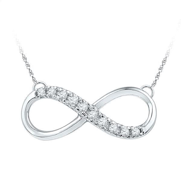 Round Diamond Infinity Pendant Necklace 1/10 Cttw 10KT White Gold