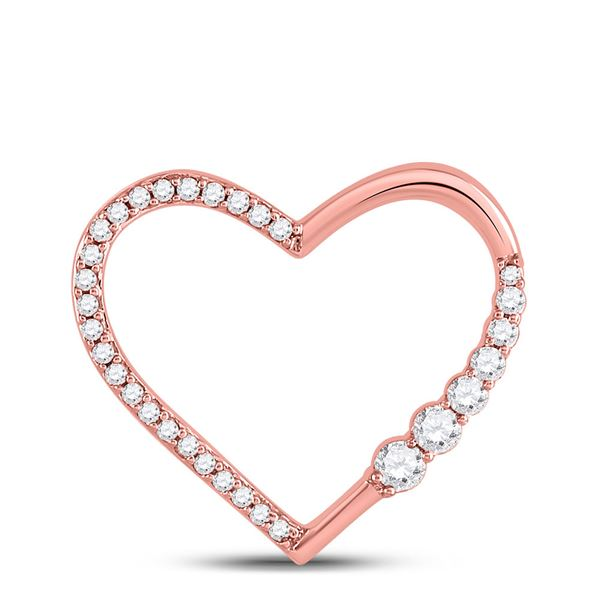 Round Diamond Outline Heart Pendant 1/4 Cttw 10KT Rose Gold