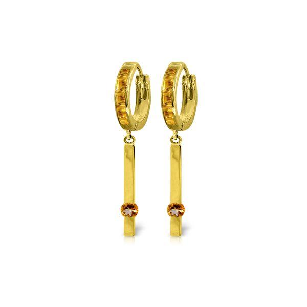 Genuine 1.35 ctw Citrine Earrings 14KT Yellow Gold - REF-66H2X