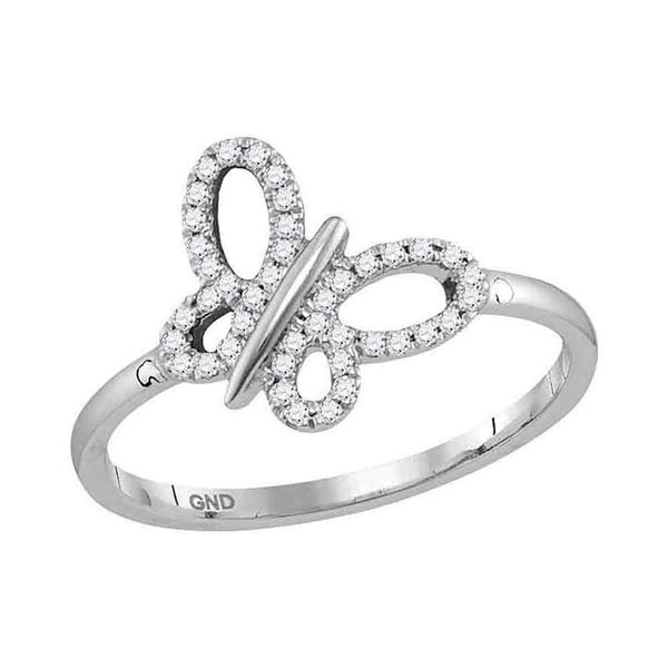 Round Diamond Butterfly Bug Fashion Ring 1/6 Cttw 10KT White Gold