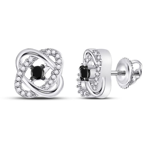 Round Black Color Enhanced Diamond Fashion Earrings 1/4 Cttw 10KT White Gold