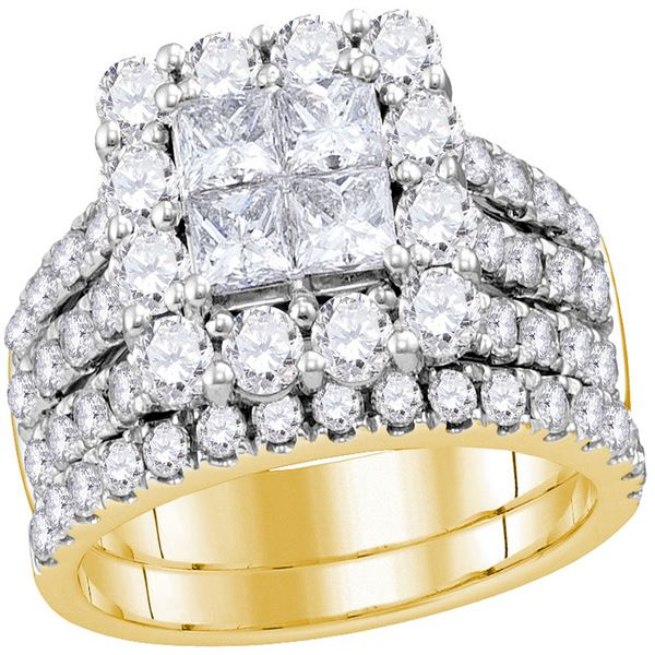Cluster Bridal Wedding Engagement Ring 3 Cttw 14KT Yellow Gold
