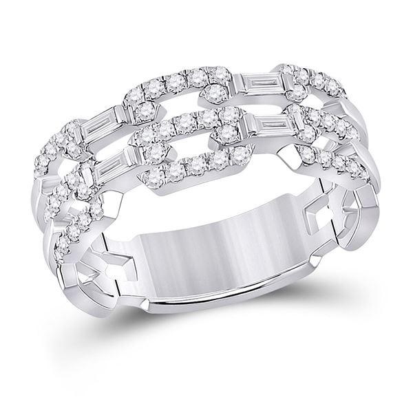 Baguette Diamond Link Band Ring 1/2 Cttw 14KT White Gold