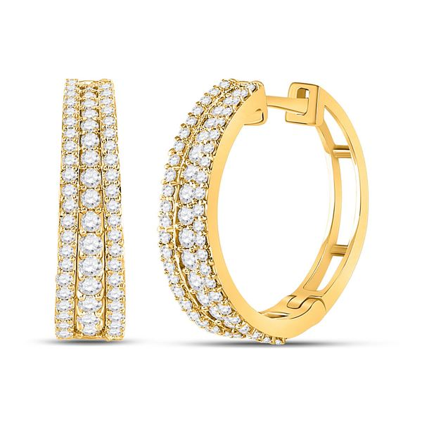 Round Diamond Fashion Tapered Hoop Earrings 1 Cttw 14KT Yellow Gold