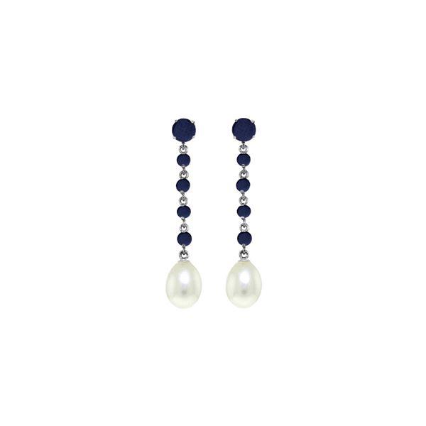 Genuine 10 ctw Sapphire & Pearl Earrings 14KT White Gold - REF-37R8P
