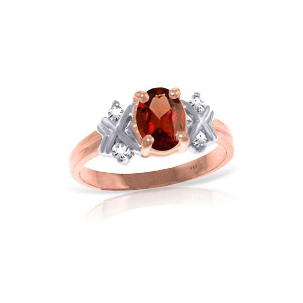 Genuine 0.97 ctw Garnet & Diamond Ring 14KT Rose Gold - REF-59X2M