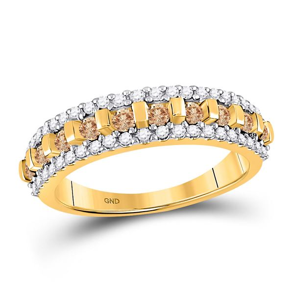 Round Brown Diamond Triple Row Band 1/2 Cttw 10KT Yellow Gold