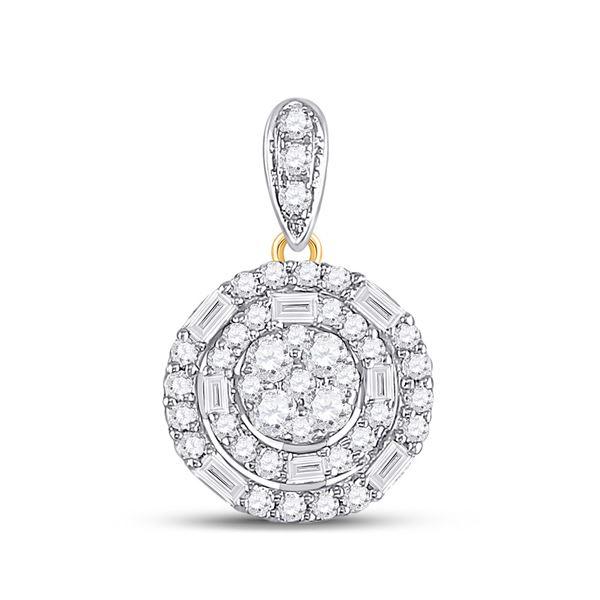 Baguette Diamond Circle Cluster Pendant 3/8 Cttw 14KT Yellow Gold