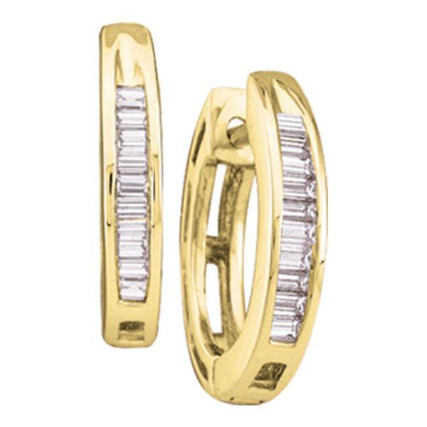 Baguette Diamond Huggie Hoop Earrings 1/6 Cttw 14KT Yellow Gold