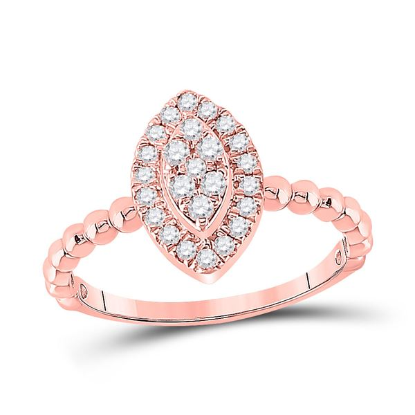 Round Diamond Oval Cluster Ring 1/3 Cttw 10KT Rose Gold