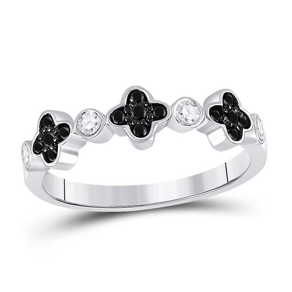 Round Black Color Enhanced Diamond Clover Band Ring 1/4 Cttw 10KT White Gold