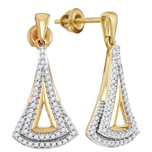 Round Diamond Dangle Earrings 1/4 Cttw 10KT Yellow Gold