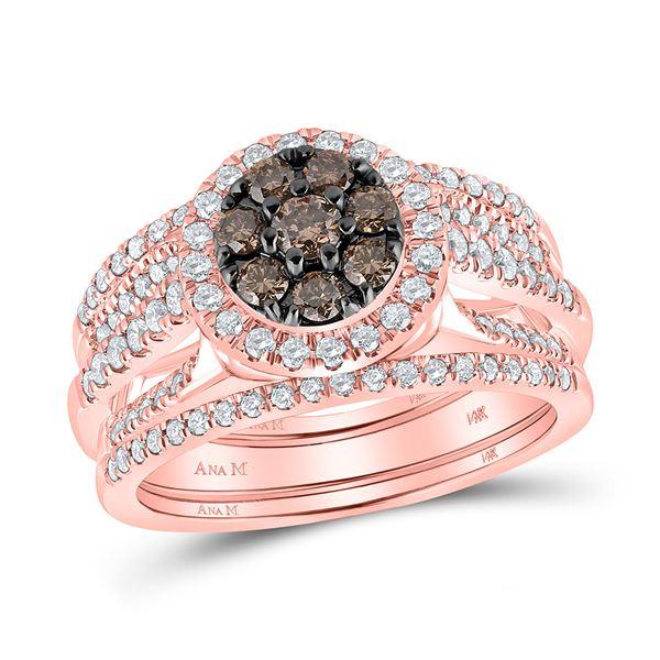 Round Brown Diamond 3-Piece Bridal Wedding Ring Band Set 1 Cttw 14KT Rose Gold