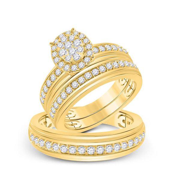 Diamond Cluster Matching Wedding Set 1-1/5 Cttw 14KT Yellow Gold