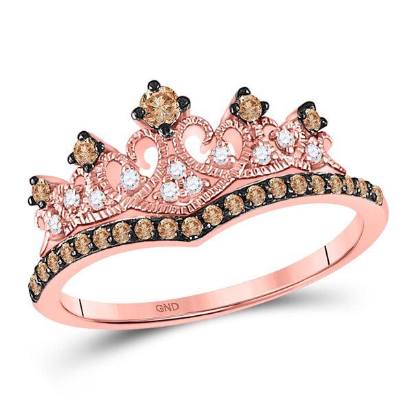 Round Brown Diamond Crown Tiara Ring 1/3 Cttw 10KT Rose Gold