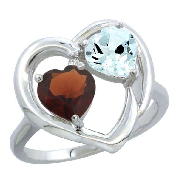 2.61 CTW Diamond, Garnet & Aquamarine Ring 14K White Gold - REF-38K2W