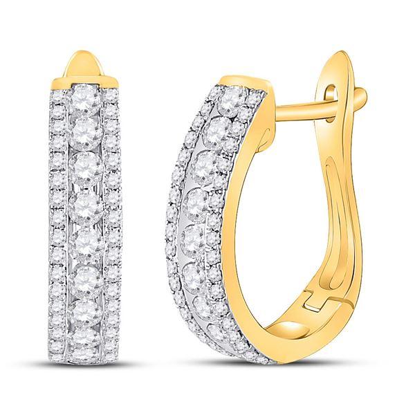 Round Diamond Hoop Earrings 7/8 Cttw 14KT Yellow Gold
