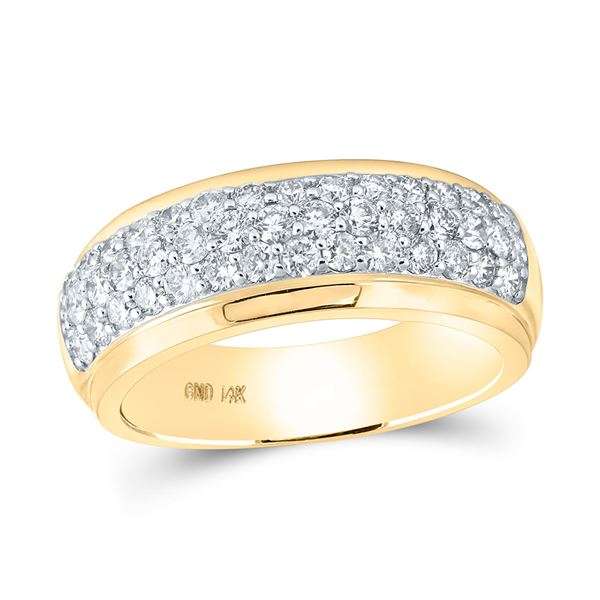 Round Diamond Pave Band Ring 1-1/2 Cttw 14KT Yellow Gold