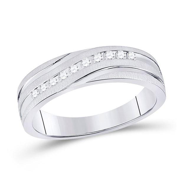 Round Diamond Channel-set Wedding Anniversary Band 1/4 Cttw 10KT White Gold