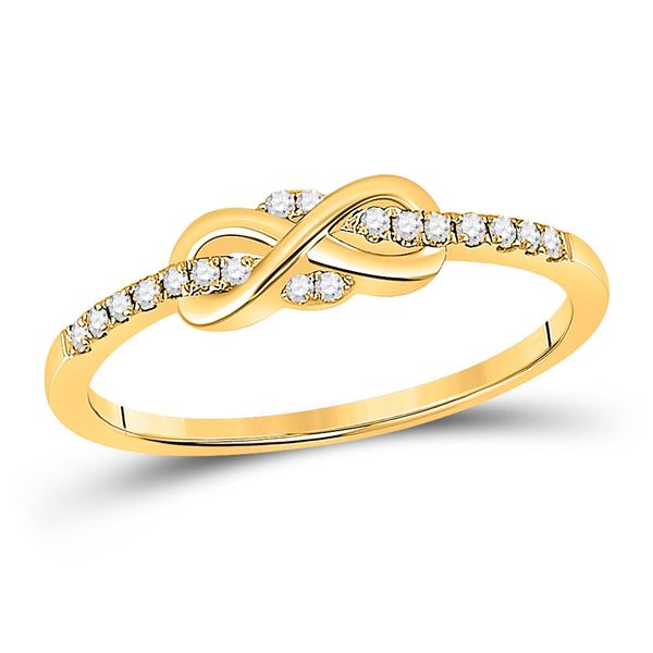 Round Diamond Infinity Knot Stackable Band Ring 1/10 Cttw 10KT Yellow Gold
