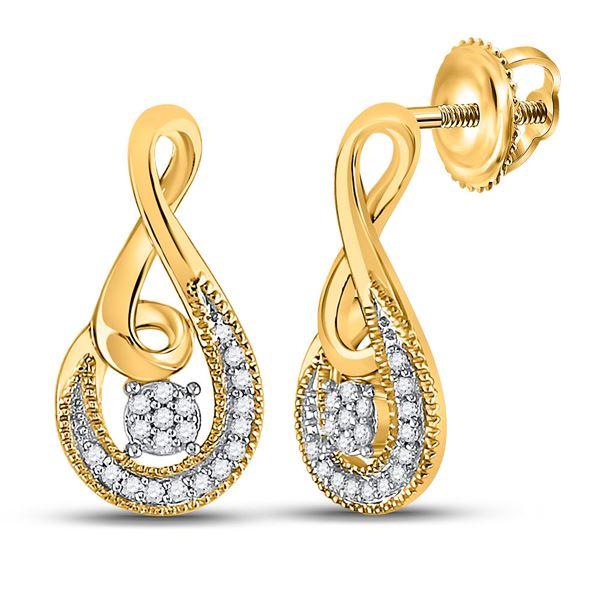 Round Diamond Teardrop Earrings 1/10 Cttw 10KT Yellow Gold