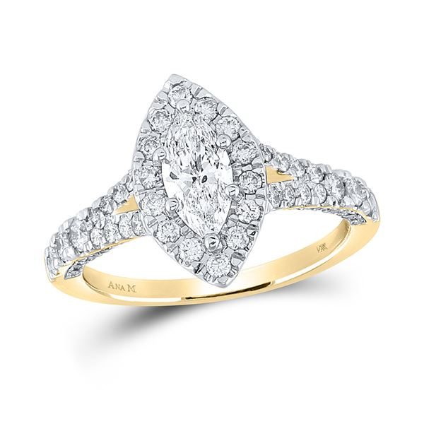 Halo Bridal Wedding Engagement Ring 1-1/4 Cttw 14KT Yellow Gold