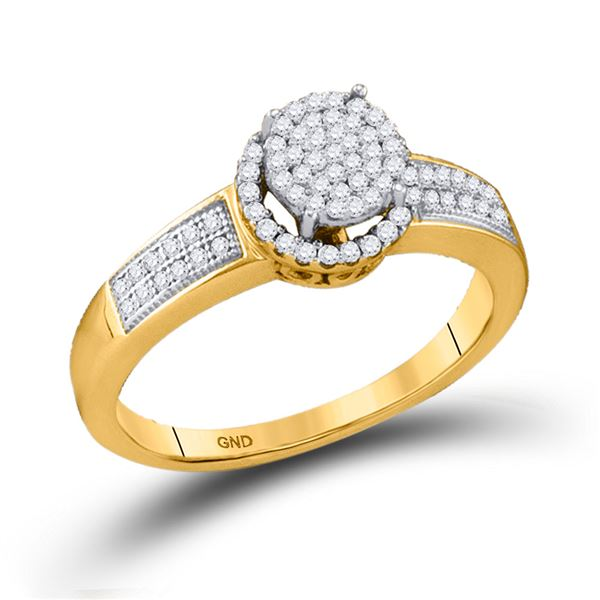 Diamond Cluster Bridal Wedding Engagement Ring 1/4 Cttw 10KT Yellow Gold