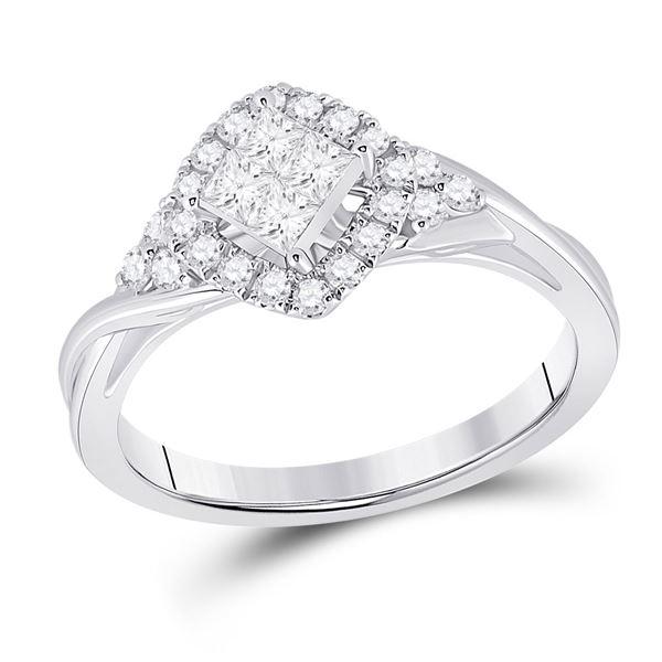 Princess Diamond Offset Square Fashion Ring 1/2 Cttw 14KT White Gold