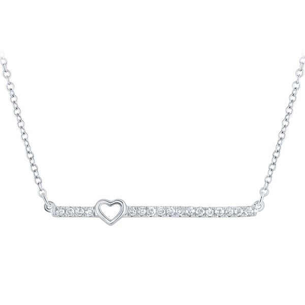 Round Diamond Heart Bar Necklace 1/10 Cttw 10KT White Gold