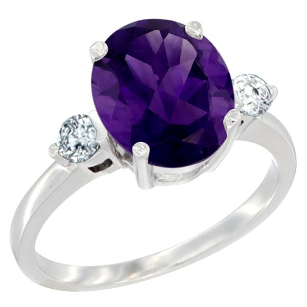 2.60 CTW Amethyst & Diamond Ring 10K White Gold - REF-62M2A
