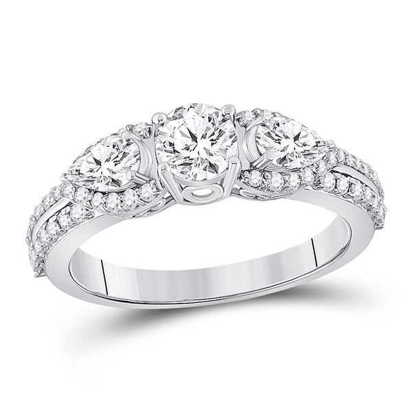 Diamond 3-stone Bridal Wedding Engagement Ring 1-1/3 Cttw 14KT White Gold