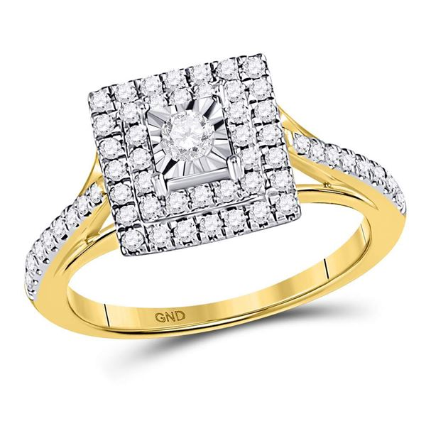 Diamond Square Bridal Wedding Engagement Ring 1/2 Cttw 10KT Yellow Gold