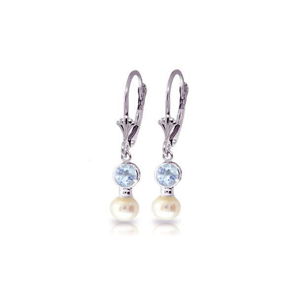 Genuine 2.7 ctw Aquamarine & Pearl Earrings 14KT White Gold - REF-37K2V