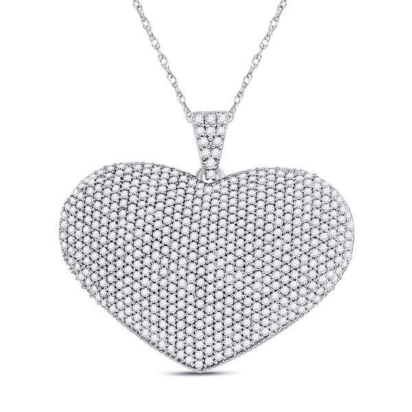 Round Diamond Charmed Heart Pendant 2 Cttw 14KT White Gold